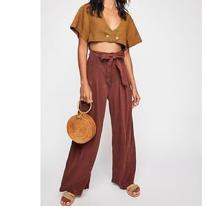 Free People Dwell On Wide Leg Brick Pants 4